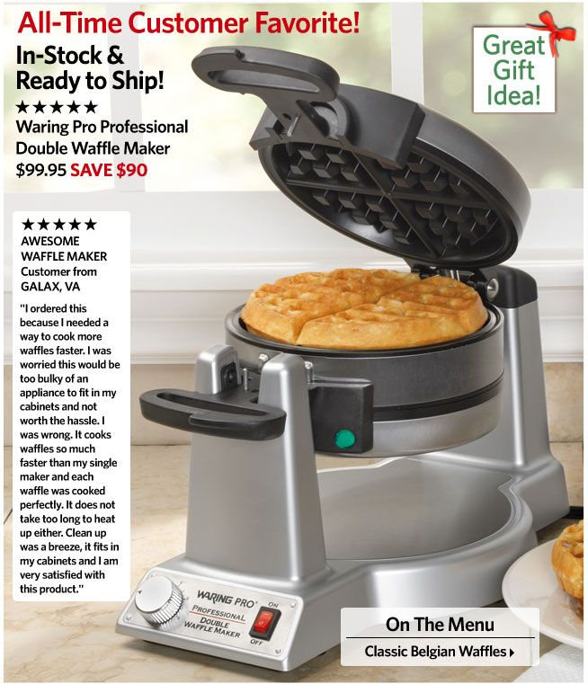 The Waring Pro Professional Double Waffle Maker is one of the best belgian waffle makers on the market and you can get this pro Belgian Waff...