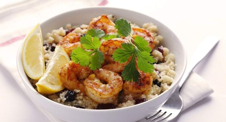 Spiced Prawns with Dried Fruit Couscous