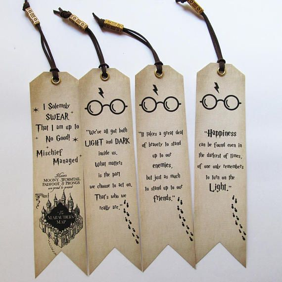 Handmade Bookmarks Set Of 4 Harry Potter Quotes Bookmarks