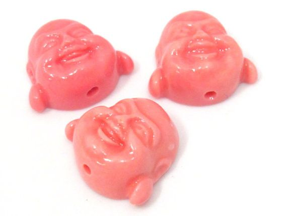2 Beads - Salmon pink color laughing buddha resin beads - BD879