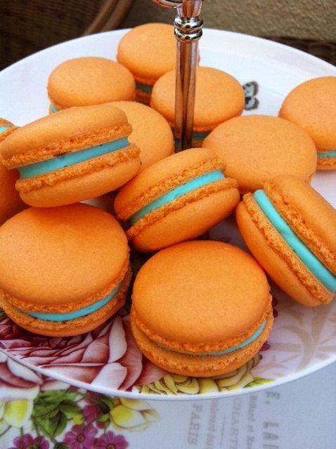 Vanilla Macarons  Orange Macaron with Aqua Blue by LeBonbonLA, $21.00