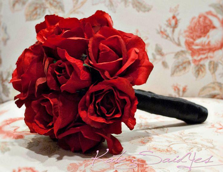 Wedding Bouquet Red Rose Silk Wedding Bouquet. $65.00, via Etsy.