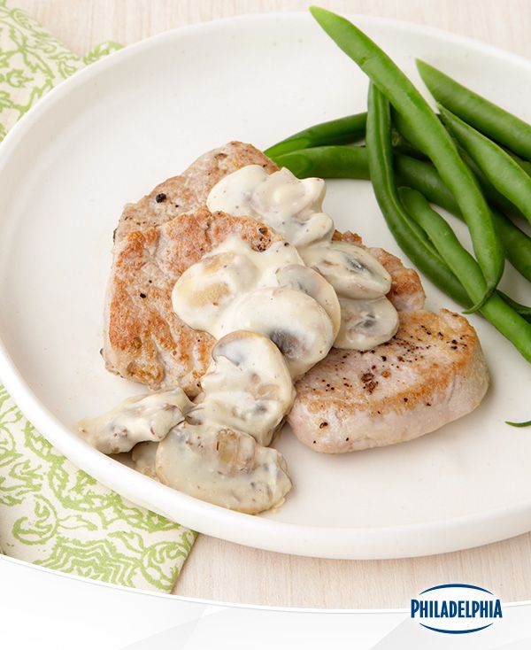 Simple Skillet Pork with Green Beans, the three step recipe so simple we had to put it in the name. In 20 minutes, impress your whole family with tender pork, crisp green beans and a creamy mushroom sauce made with the great taste of Philadelphia cream cheese.