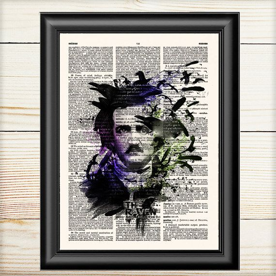 Edgar Allan Poe The Raven Poe Portrait Poe Print Dictionary Print