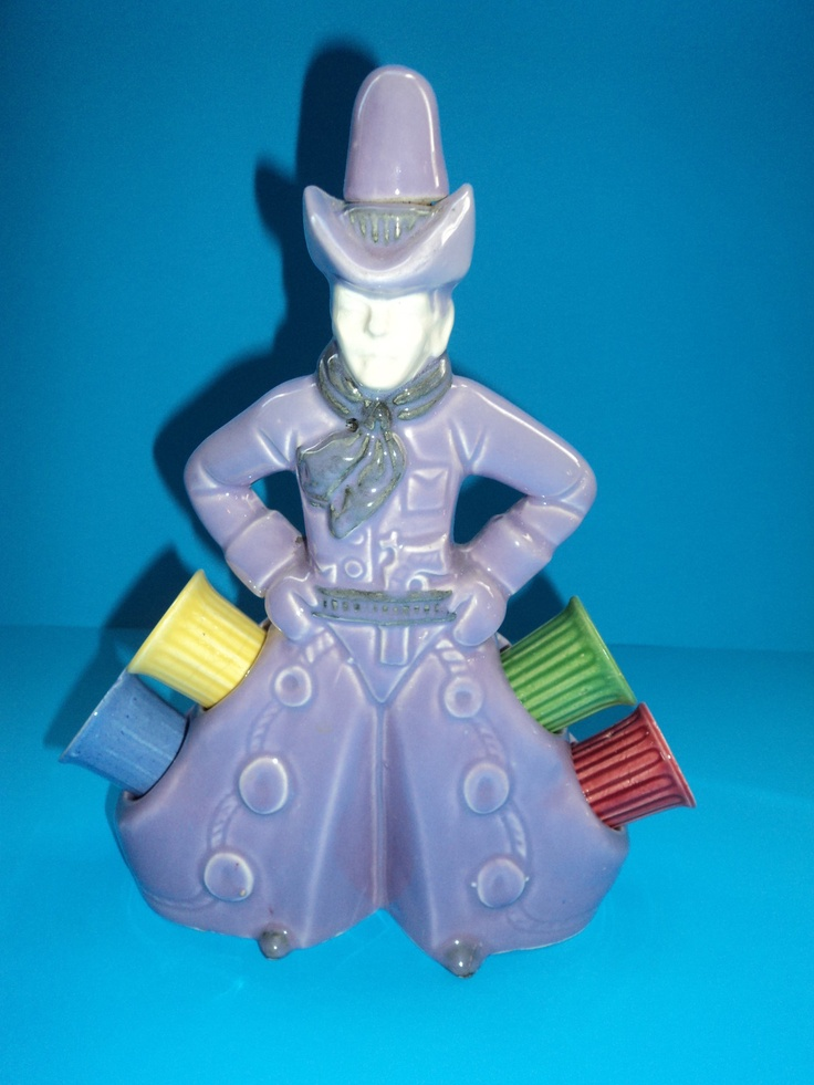 Figural Pottery Cowboy Decanter with Nips Cups in His Chaps | eBay ...