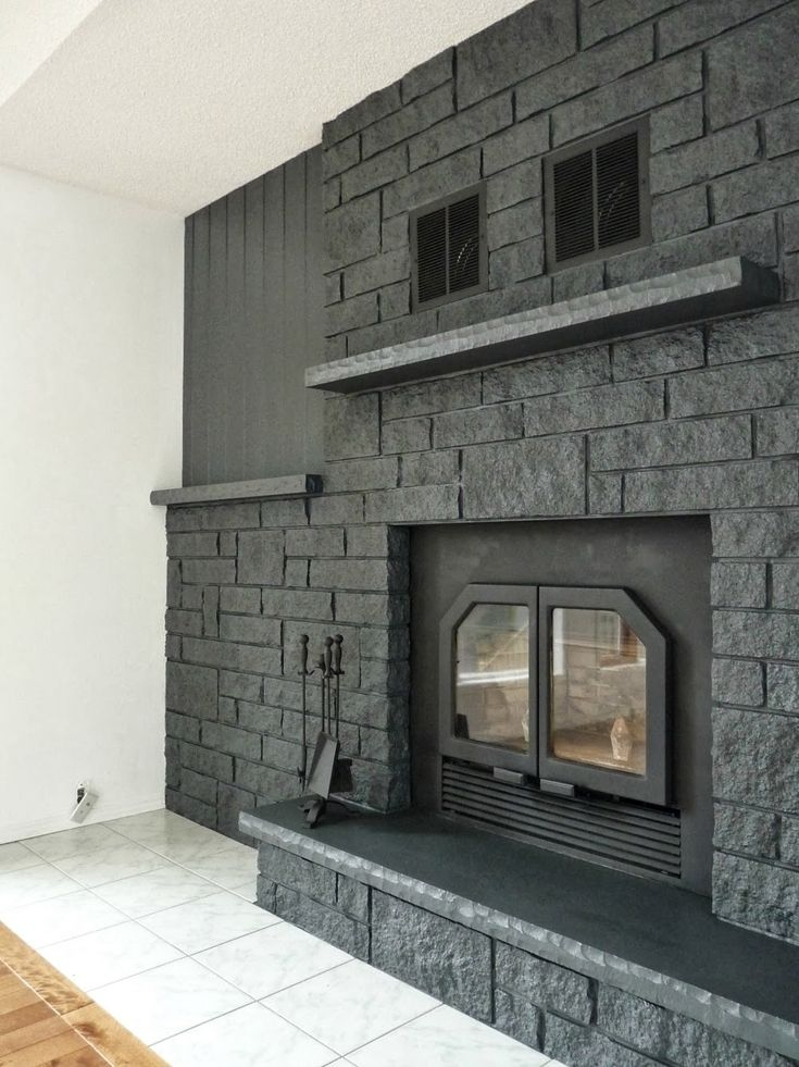 How to Easily Paint a Stone Fireplace Charcoal Grey Fireplace Makeover  New House  Brick