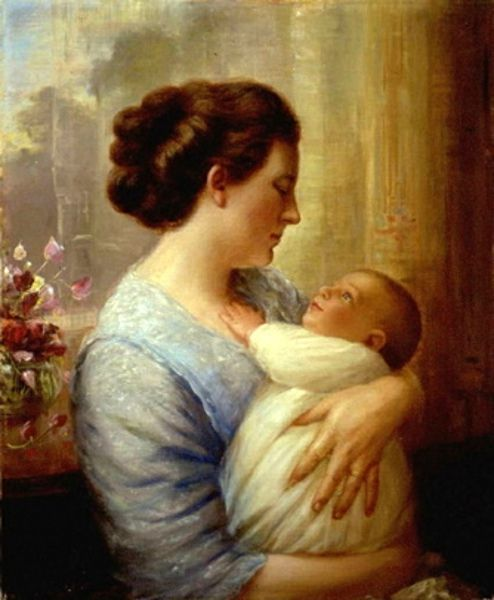 Mother And Child (Artist's Wife And Their Fourth Son, Lewis)..Lewis A. Ramsey (1873 – 1941, American...