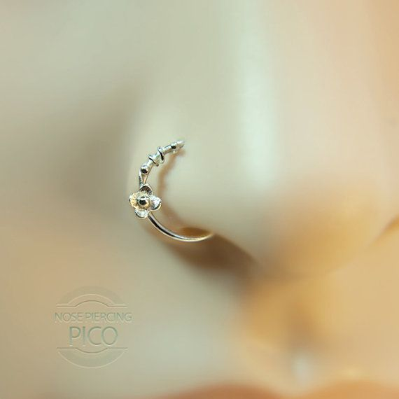 Nose Ring Flower motif Customize Sterling silver /nose studs, nose rings, nose hoops, 16 gauge,18 gauge,20 gauge,21gauge,nose piercing,