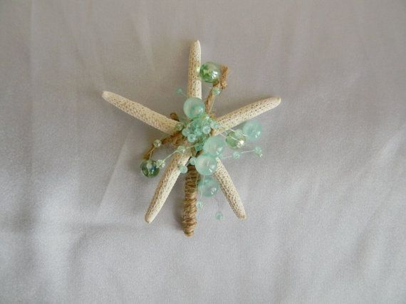 Hey, I found this really awesome Etsy listing at https://www.etsy.com/listing/226282371/starfish-boutonnieres-aqua-boutonniere