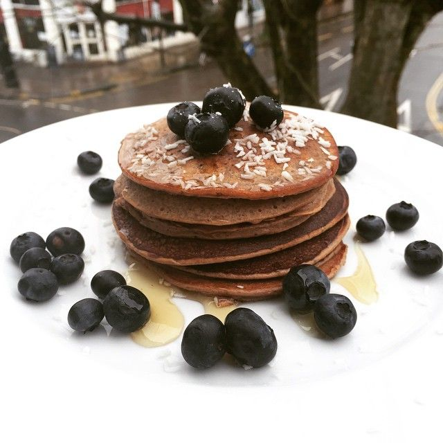 Chocolate & Blueberry Protein pancakes with coconut for breakfast today #LeanIn15 #Pancakes