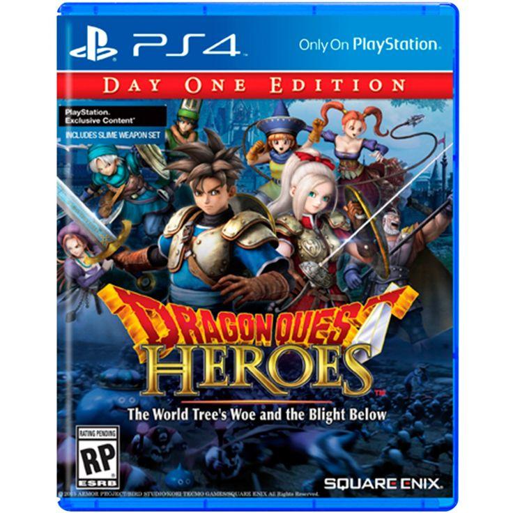 PS4 Dragon Quest Heroes; los protagonistas deben levantarse en contra de una infinidad de obstáculos enfrentándose a una multitud de enemigos y conquistando monstruos gigantes en un emocionante juego de acción. Lleno de personajes y monstruos diseñados