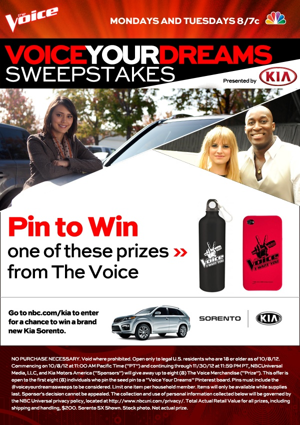 This sweepstakes has now ended. //Click this pin to find out how to win a Kia Sorento and weekly prizes from Kia Motors and #TheVoice.  #VoiceYourDreamsSweeps http://www.nbc.com/the-voice/exclusives/kia/pin-to-win/