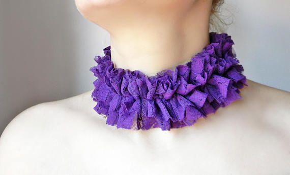 Purple Violet lace ruffle collar choker with beautiful floral lace Violet mauve neck ruff necklace choker Unique handmade women accessory
