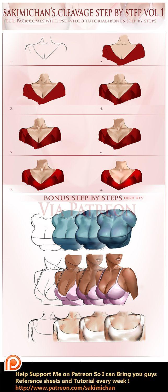 Cleavge step by step tutorial by sakimichan