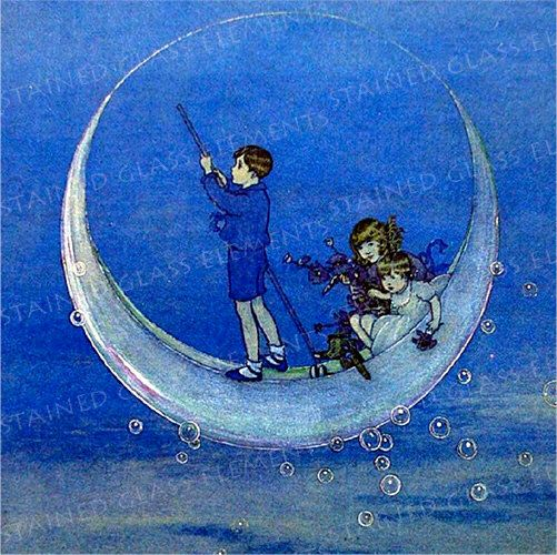 Moonchildren ceramic decal, moon ceramic decal, size 10 x 10cm (3.94 x 3.94 inch), firing temperature 1400-1562 ºF, fairy tales, moon, blue by StainedGlassElements on Etsy https://www.etsy.com/au/listing/254169331/moonchildren-ceramic-decal-moon-ceramic
