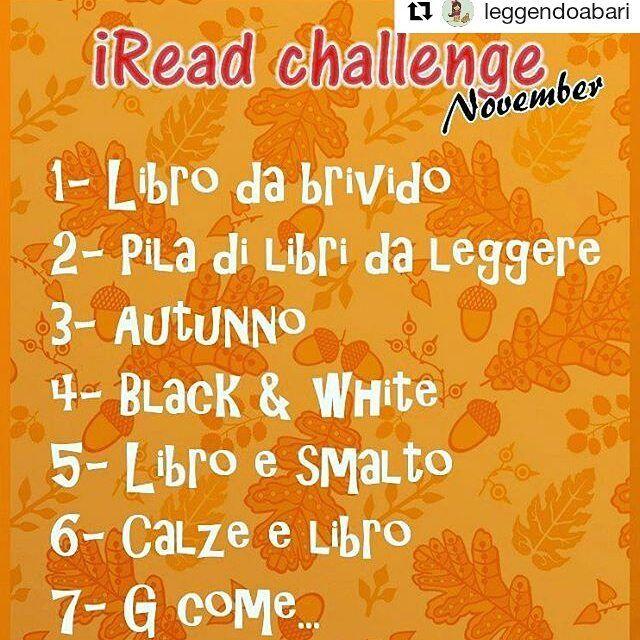 Per una challenge che finisce...un'altra ne inizia   #Repost @leggendoabari with @repostapp  Buongiorno ragazzi!! Siamo pronte a ripartire con una nuova challenge fotografica  ogni sabato verranno pubblicate le nuove sfide della settimana in questo modo speriamo di lasciare un po' l'effetto suspance  il premio finale verra svelato più avanti ma...inutile dire che si tratta di un libro! Per partecipare basta condividere questa foto taggarci e usare l'hashtag #ireadchallengenov quando…