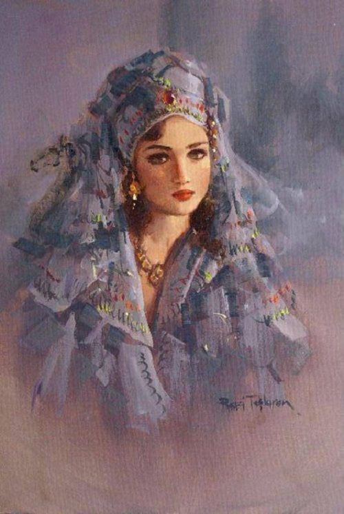 Gorgeous woman in blue outfit. Painting by Turkish artist Remzi Taşkıran