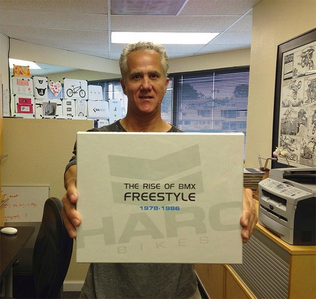 """Bob Haro, founder of Haro bikes, holds the new book, """"The Rise of BMX Freestyle,"""" a 144 page book following the birth and evolution of the Haro brand and the role that the riders and employees had on the development of BMX Freestyle! (May 2013)"""