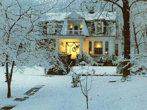 snow covered house - photo #22