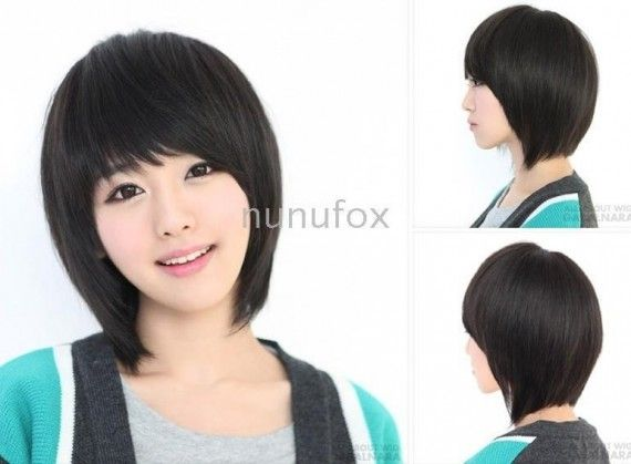 Short Black Straight Too bad, my hair's too wavy to pull this off. :/
