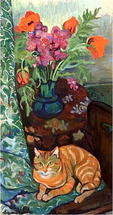 By Suzanne Valadon (1865-1938), Cat Lying in front of a Bouquet of Flowers.