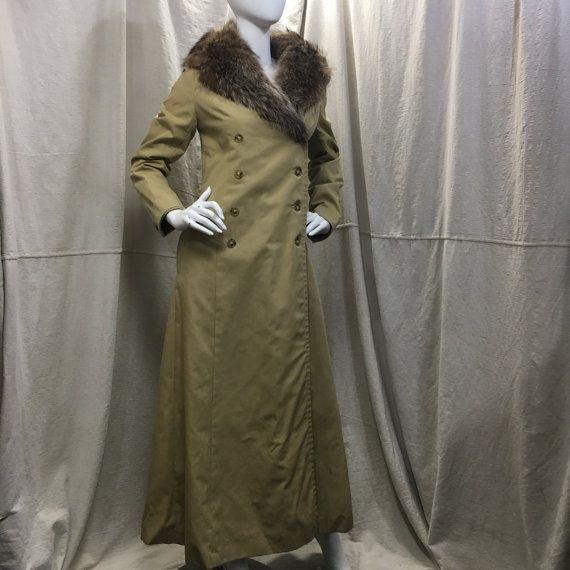 años 70 abrigo guarnecido de piel / / Fur Vintage cuello largo abrigo Edwardian Renacimiento victoriano