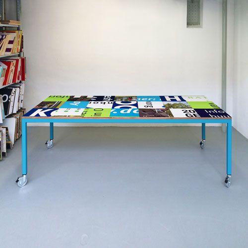 Bouwborden tafel kleurcombinatie blauw groen wit - op wielen