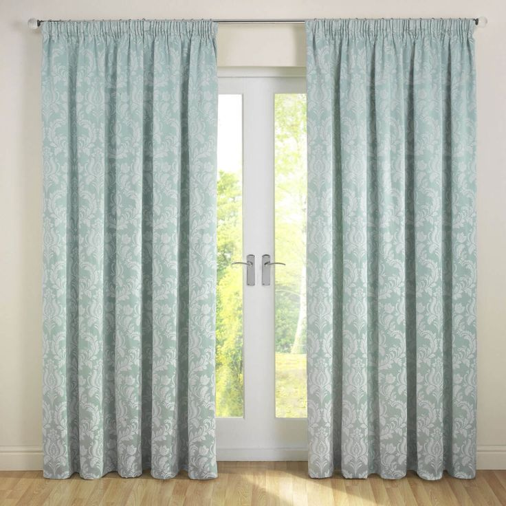 Delphine Soft Green Pencil Pleat Jacquard Lined Curtains (Pair)  - Julian Charles