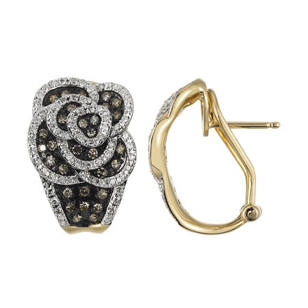 White and brown Diamond flower earrings. 14K Gold. Was $1899 now $1199