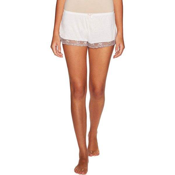 Eberjey Women's Delphine Shorts - Cream/Tan - Size L ($29) ❤ liked on Polyvore featuring shorts, embroidered shorts, elastic waistband shorts, lacy shorts, high waisted shorts and bow shorts