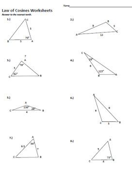 Printables Law Of Cosines Worksheet 1000 ideas about law of cosines on pinterest trigonometry worksheets and printables cosine worksheet 2