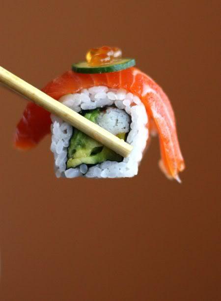 Salmon topped Maki Sushi