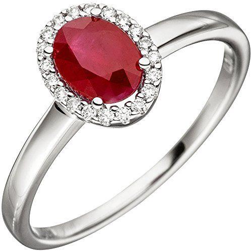 Dreambase Damen-Ring mit einem Rubin und 20 Diamant-Brill…