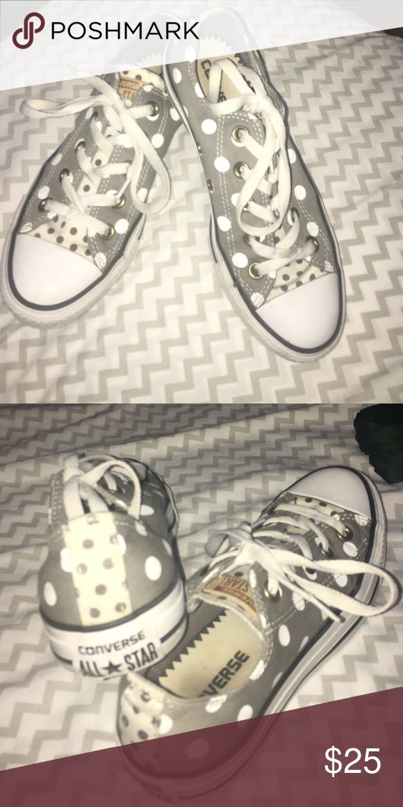 Converse shoes Grey with white polka dots, lightly warn Converse Shoes Sneakers