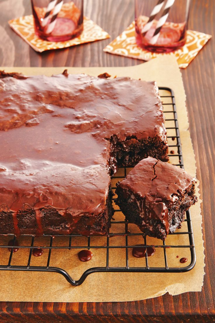 Intensely fudgy brownies get pop of root beer flavor in both the batter and glaze. Be sure to cool the brownies completely before glazing to ensure the delicious (but runny) frosting stays on!