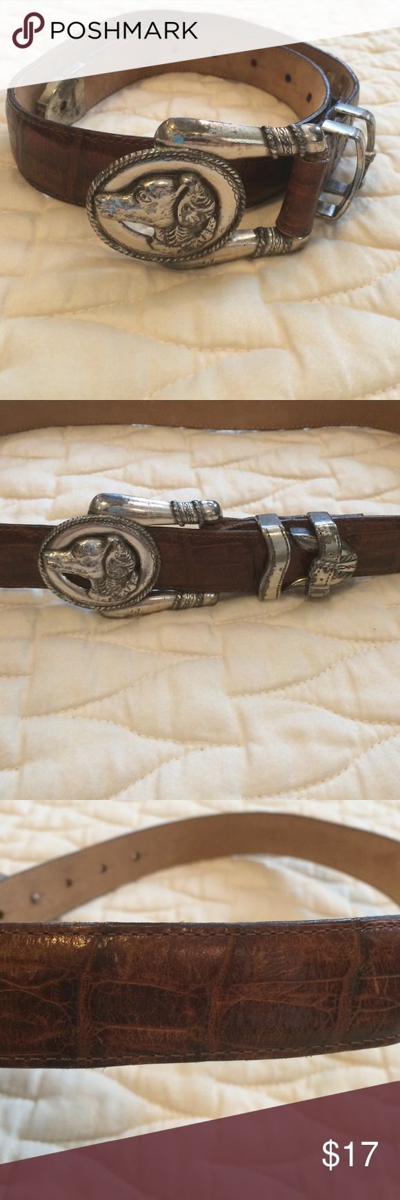 Vintage Brighton Croc Belt This buckle is so fun!  Brown croc embossed Brighton leather belt circa 1996. Silvertone dog buckle and hard wear. The hard wear does show some oxidation but I think it adds to the charm of the belt. The leather is in great shape! Vintage Accessories Belts