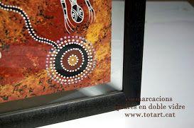 Enmarcación pintura australiana en doble cristal en www.totart.cat