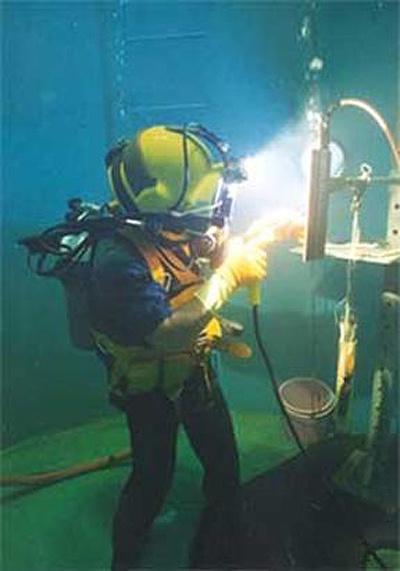 .Underwater welding.