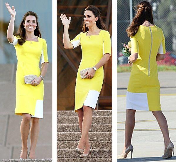 Желто-белое платье Кейт Миддлтон, фото.
