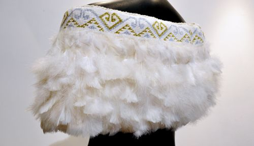 Robin Hill Kura Gallery Maori Art Design New Zealand Aotearoa Weaving Shoulder Cloak Cape Marena White Turkey Peacock Feathers