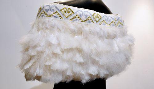 Robin Hill Kura Gallery Maori Art Design New Zealand Aotearoa Weaving Shoulder Cloak Cape Marena White Turkey Peacock Feathers