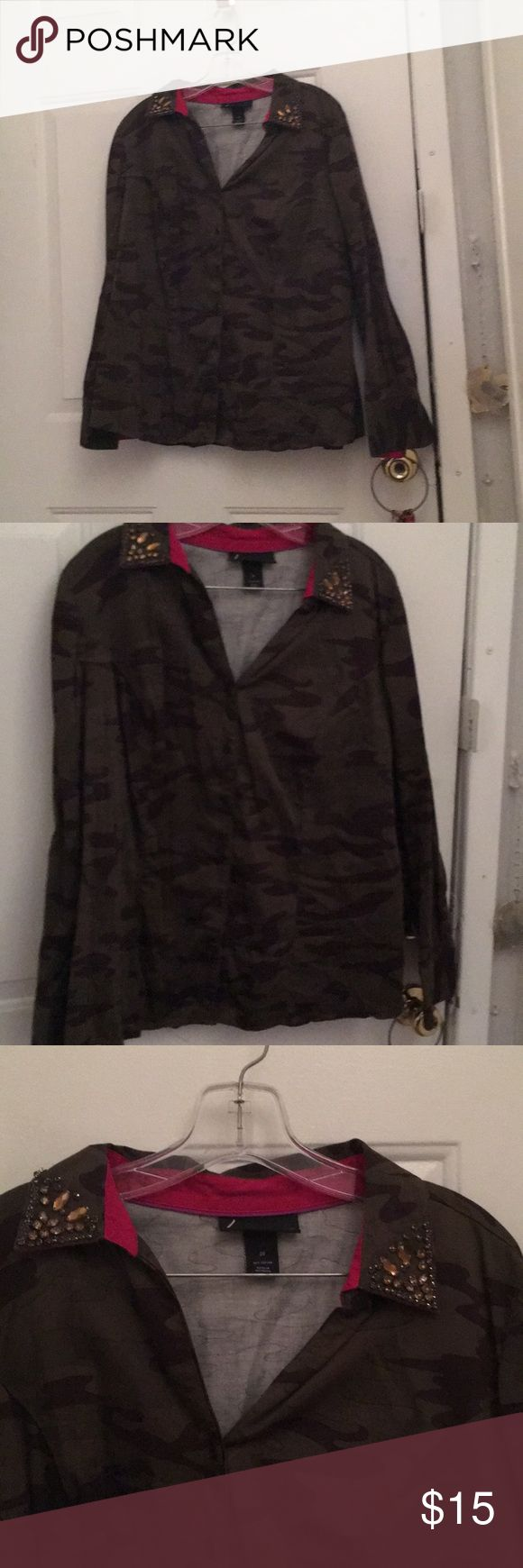 Camo dress shirt Gently used Lane Bryant Tops Blouses