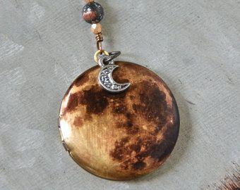 Full Moon medaillon HALSKETTING, antiek messing lange keten medaillon, Full Moon Necklace, Boho ketting, maan charm Necklace, foto medaillon