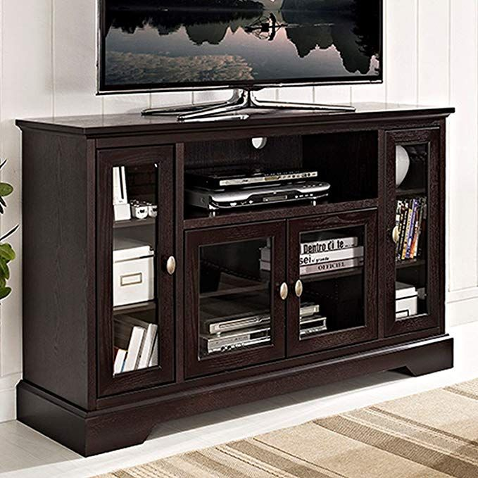 Amazon Com We Furniture 52 Wood Highboy Style Tall Tv Stand Espresso Kitchen Dining Highboy Tv Stand Tv Stand Console Tv Media Stands