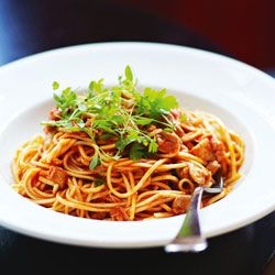 Nino Zoccali's; Spaghetti with braised chicken, tomato & rosemary sauce