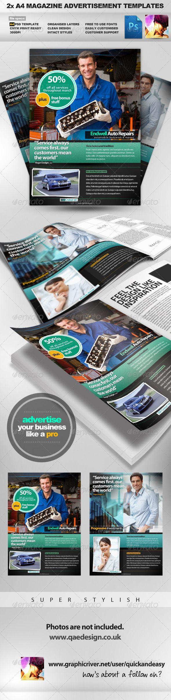 2x A4 PSD Magazine Advertisement Templates