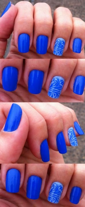 Nails of the week - blue + stamping - So Many Lovely Things: Color