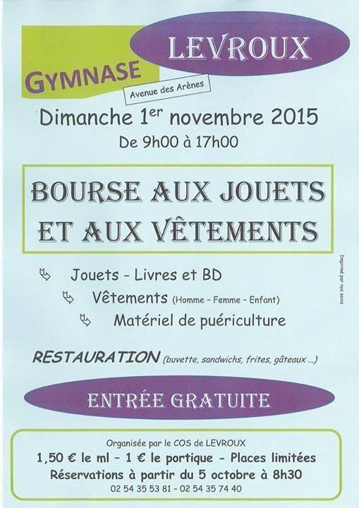 Bourse aux jouets et aux vêtements, Levroux, Gymnase Michel Moulin, Avenue des Arènes, Dimanche 1 Novembre 2015, 9h00 > 17h00.