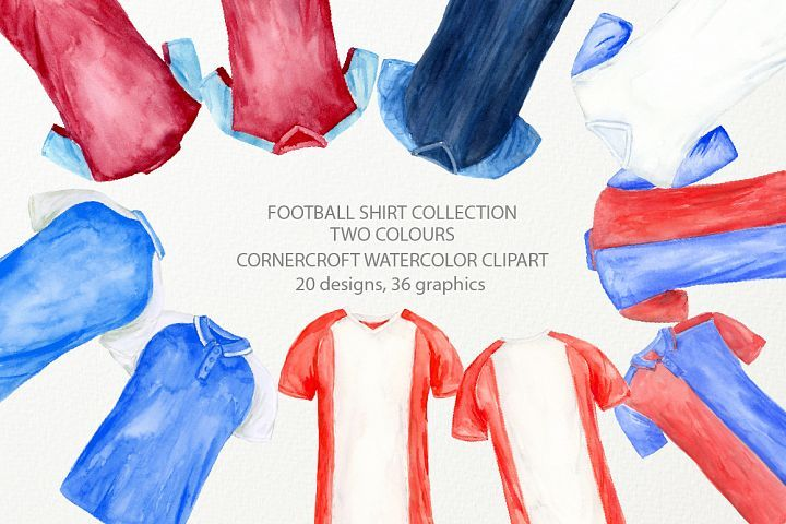 Watercolor Clipart Of Football Shirt In 2 Colors Clip Art