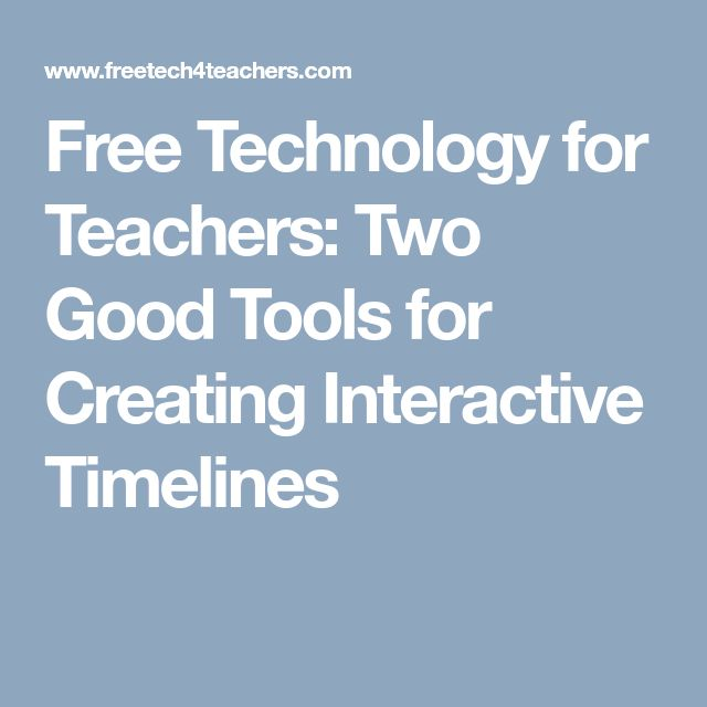 Free Technology for Teachers: Two Good Tools for Creating Interactive Timelines